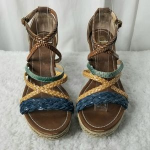 R2 Sandals Wedge Ankle & Cross Straps Size 8